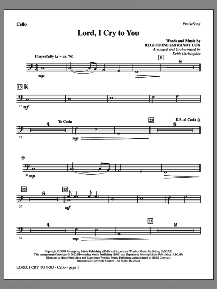 Lord, I Cry To You sheet music for orchestra/band (cello) by Regi Stone, Randy Cox and Keith Christopher, intermediate skill level