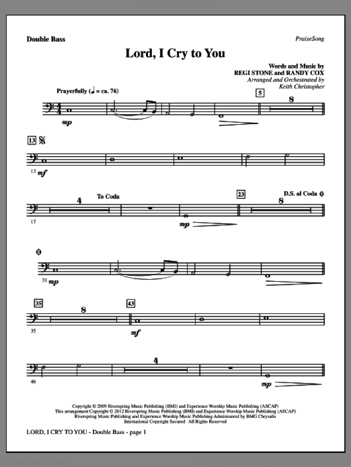 Lord, I Cry To You sheet music for orchestra/band (double bass) by Regi Stone, Randy Cox and Keith Christopher, intermediate skill level