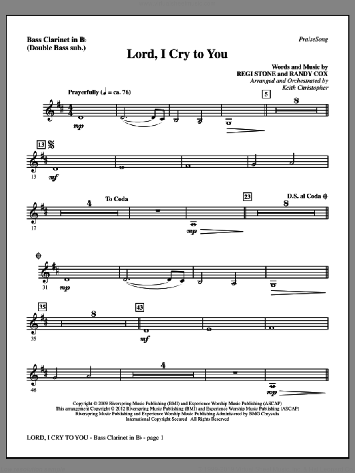 Lord, I Cry To You sheet music for orchestra/band (bass clarinet, sub. dbl bass) by Regi Stone, Randy Cox and Keith Christopher, intermediate skill level