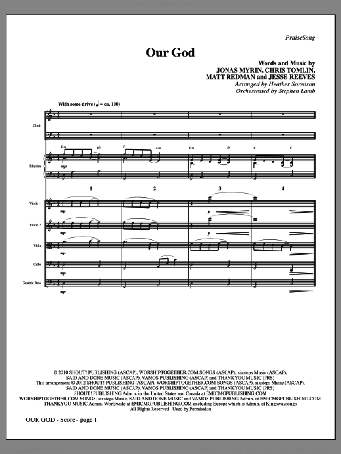 Our God (complete set of parts) sheet music for orchestra/band (Rhythm and Strings) by Chris Tomlin, Jesse Reeves, Jonas Myrin, Matt Redman and Heather Sorenson, intermediate skill level