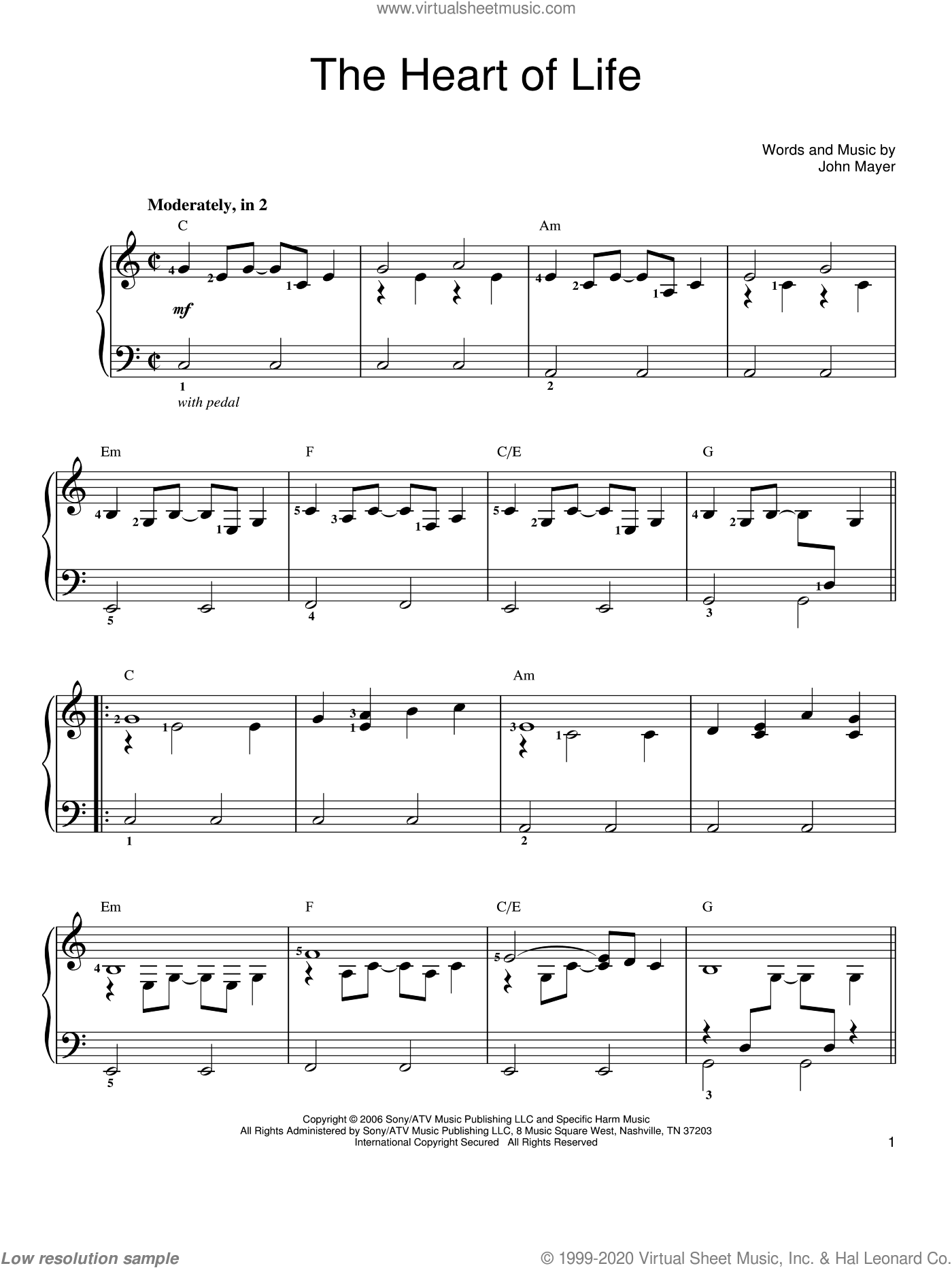 The Heart Of Life sheet music for piano solo by John Mayer, easy piano. Score Image Preview.