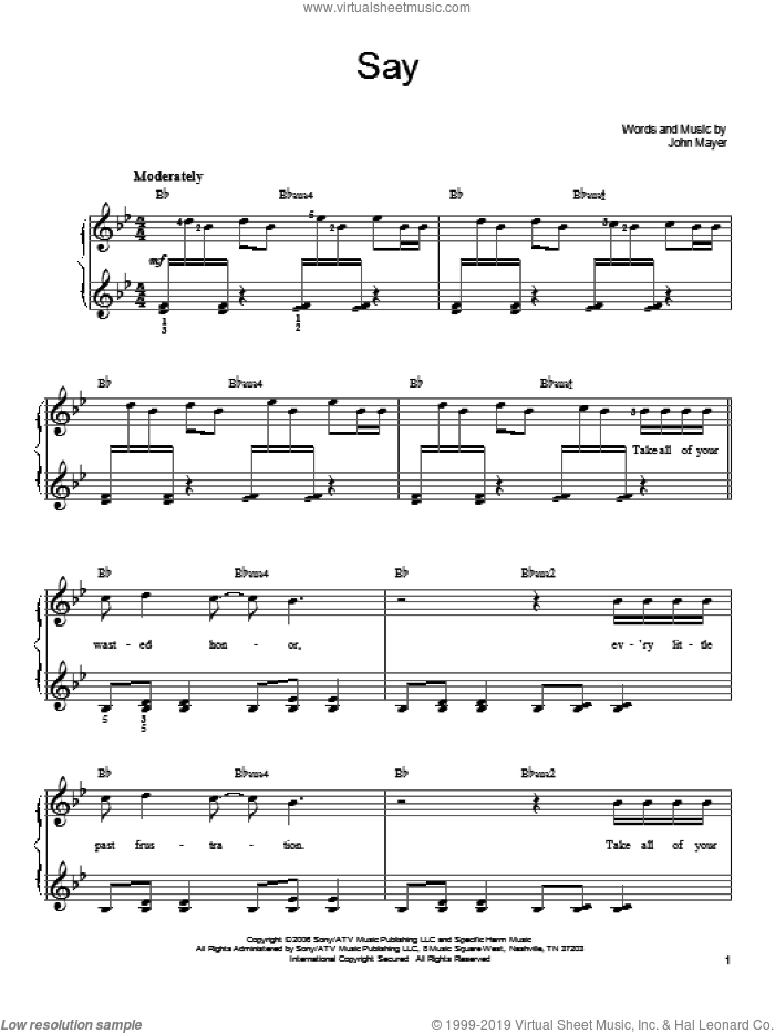 Say sheet music for piano solo by John Mayer, easy skill level