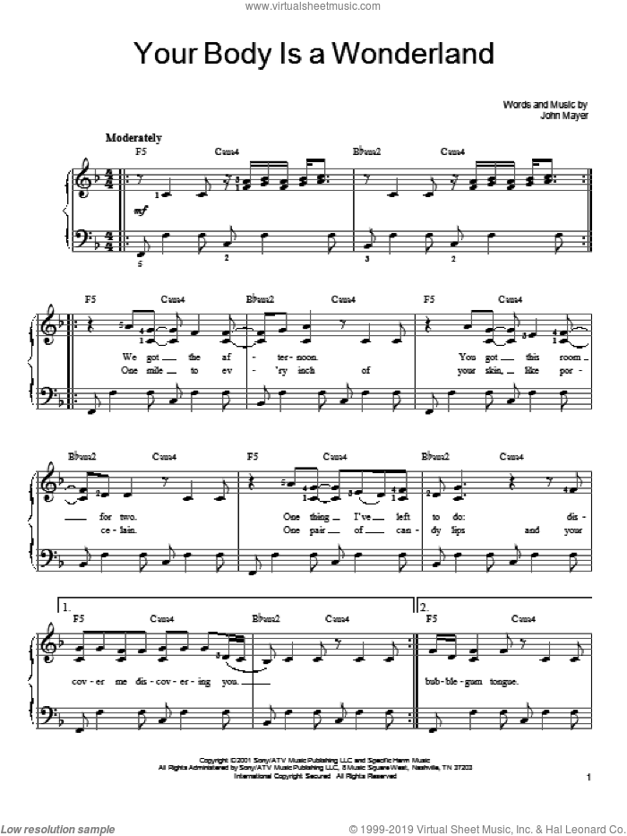 Your Body Is A Wonderland sheet music for piano solo by John Mayer, easy skill level