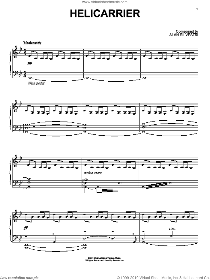 Helicarrier sheet music for piano solo by Alan Silvestri, intermediate skill level