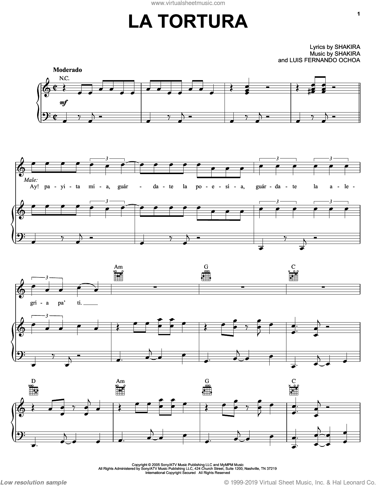 La Tortura sheet music for voice, piano or guitar by Shakira featuring Alejandro Sanz, Alejandro Sanz and Shakira. Score Image Preview.