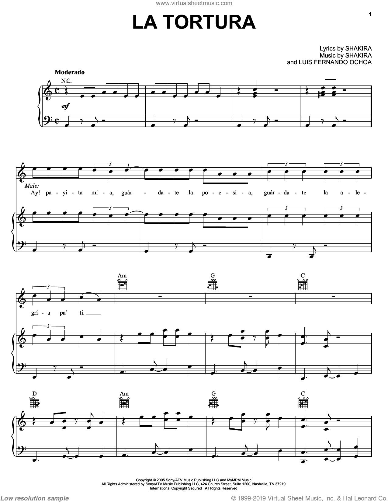 La Tortura sheet music for voice, piano or guitar by Shakira featuring Alejandro Sanz, Alejandro Sanz, Luis Fernando Ochoa and Shakira, intermediate skill level
