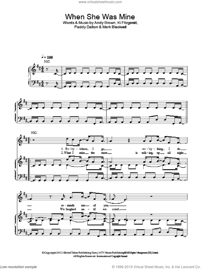 When She Was Mine sheet music for voice, piano or guitar by LAWSON, intermediate voice, piano or guitar. Score Image Preview.