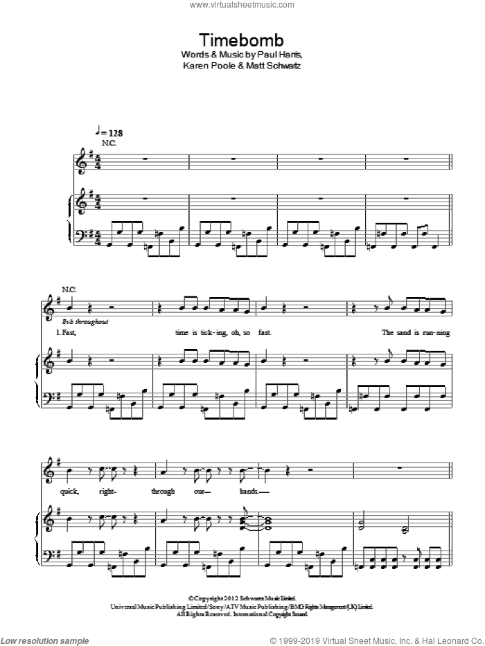 Timebomb sheet music for voice, piano or guitar by Paul Harris, Kylie Minogue, Karen Poole and Matt Schwartz
