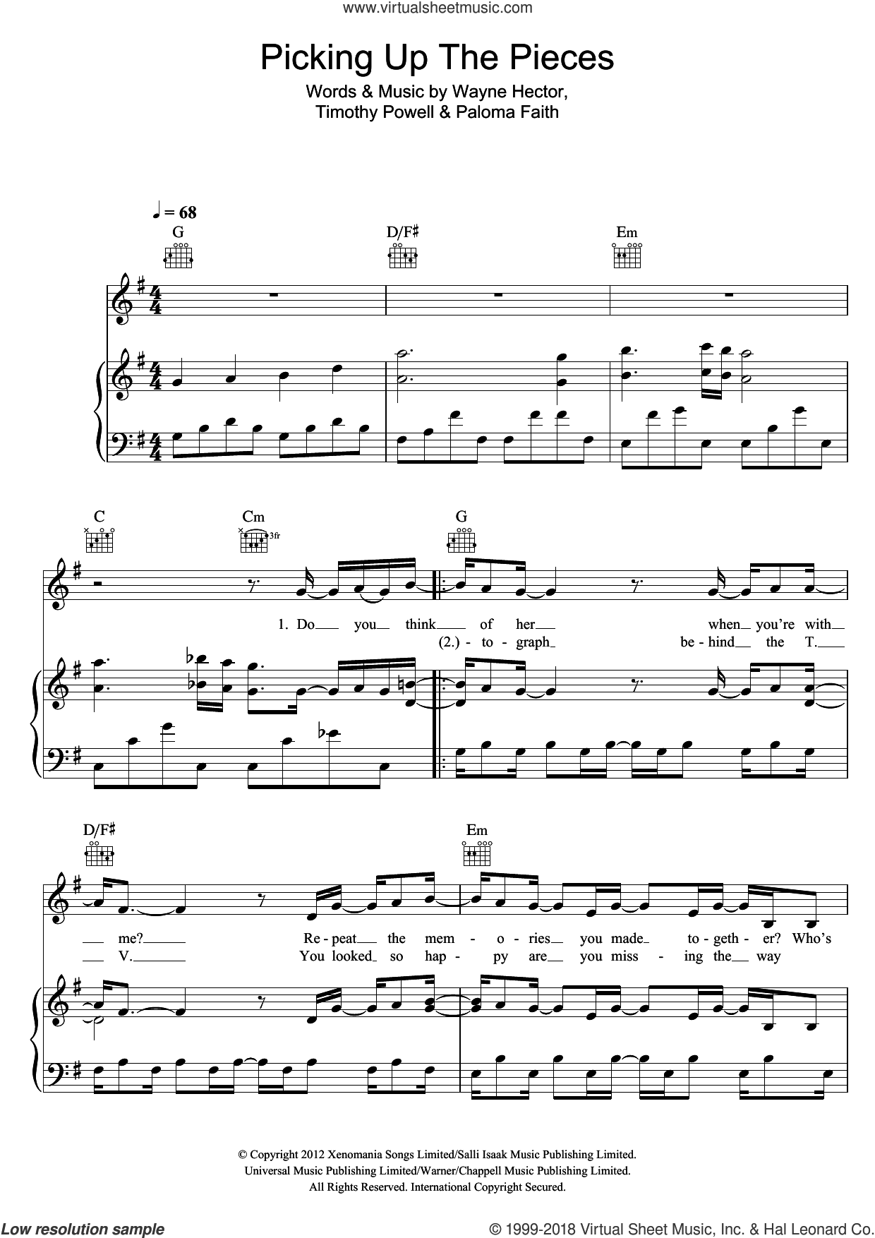 Picking Up The Pieces sheet music for voice, piano or guitar by Paloma Faith, Timothy Powell and Wayne Hector, intermediate. Score Image Preview.