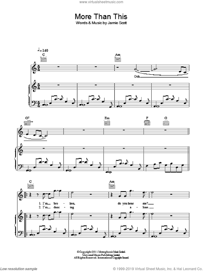 More Than This sheet music for voice, piano or guitar by Jamie Scott
