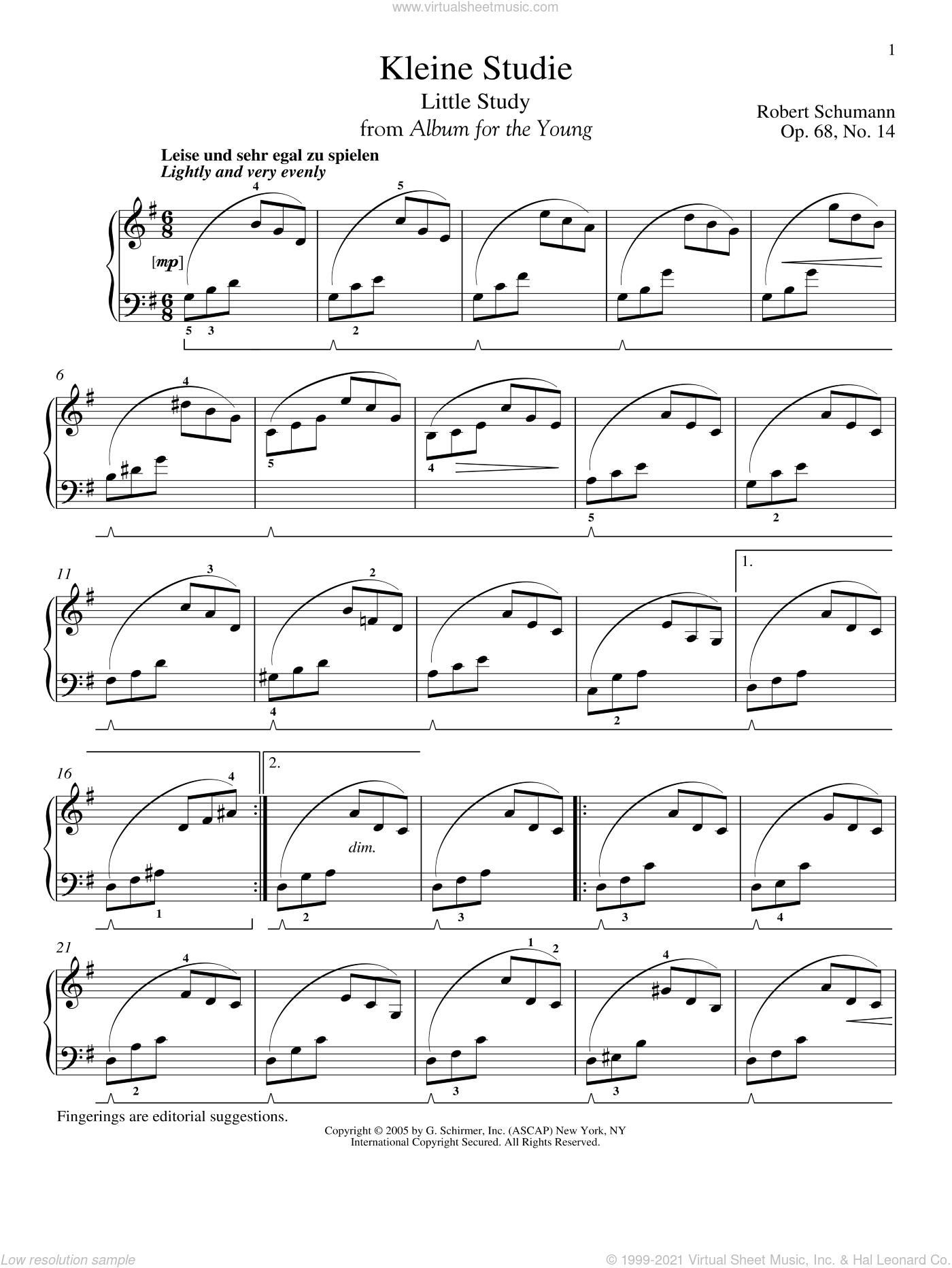 Little Study, Op. 68, No. 14 (Kleine Studie) sheet music for piano solo by Robert Schumann, classical score, intermediate skill level