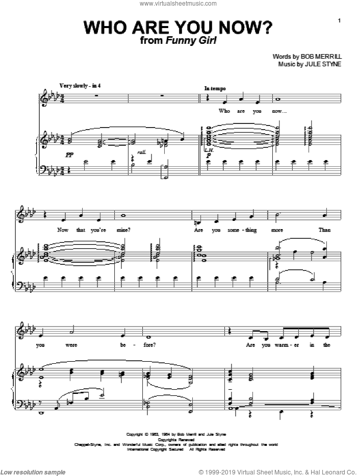 Who Are You Now? sheet music for voice and piano by Jule Styne, Barbra Streisand, Michael Feinstein and Bob Merrill. Score Image Preview.