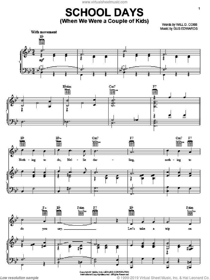 School Days (When We Were A Couple Of Kids) sheet music for voice, piano or guitar by Will D. Cobb and Gus Edwards, intermediate skill level