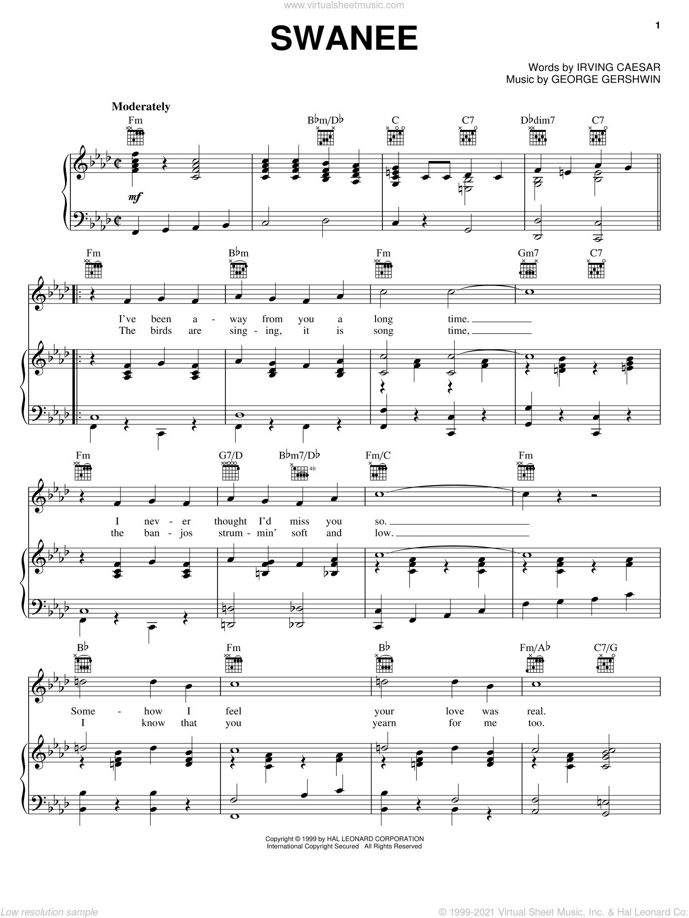 Swanee sheet music for voice, piano or guitar by George Gershwin, Al Jolson, Dean Martin, Judy Garland and Irving Caesar, intermediate skill level