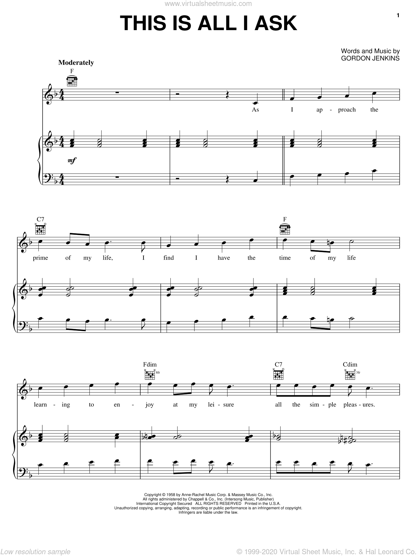 This Is All I Ask (Beautiful Girls Walk A Little Slower) sheet music for voice, piano or guitar by Gordon Jenkins, Robert Goulet and Tony Bennett, intermediate skill level