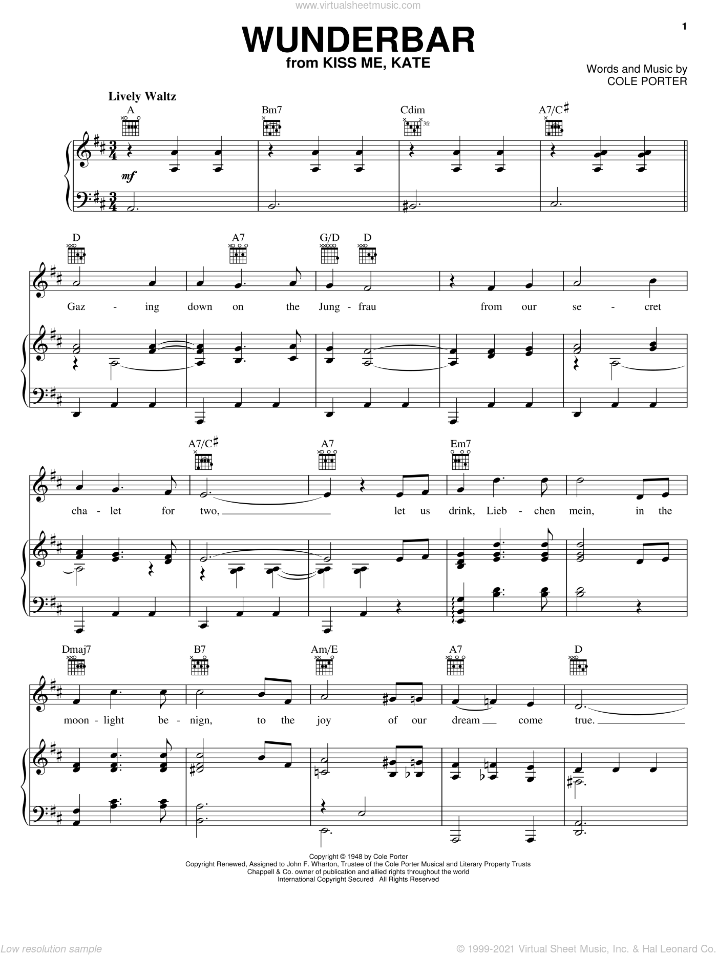 Wunderbar sheet music for voice, piano or guitar by Cole Porter and Kiss Me, Kate (Musical), intermediate skill level