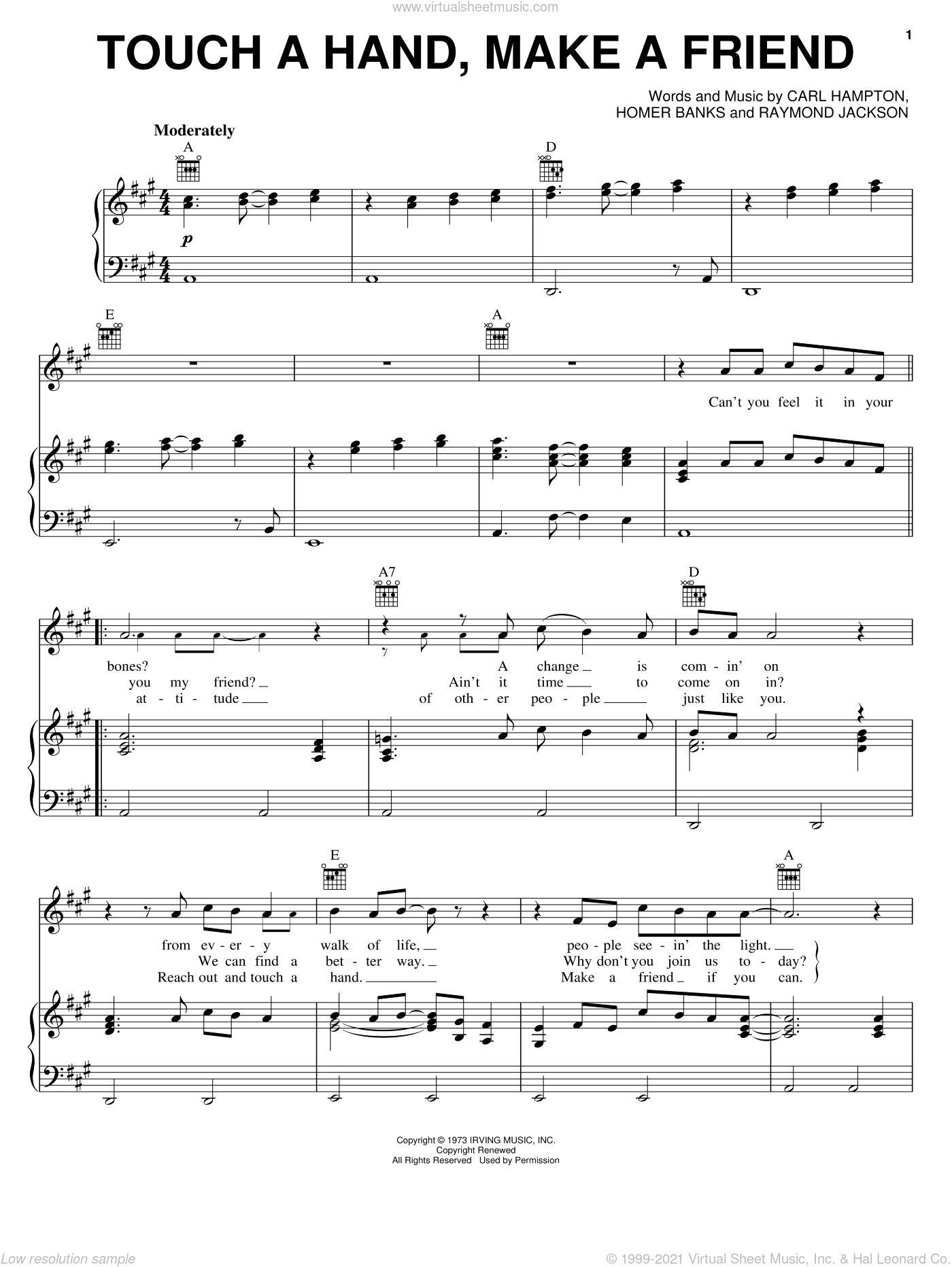 Touch A Hand, Make A Friend sheet music for voice, piano or guitar by The Staple Singers, Oak Ridge Boys, Carl Hampton, Homer Banks and Raymond Jackson, intermediate skill level