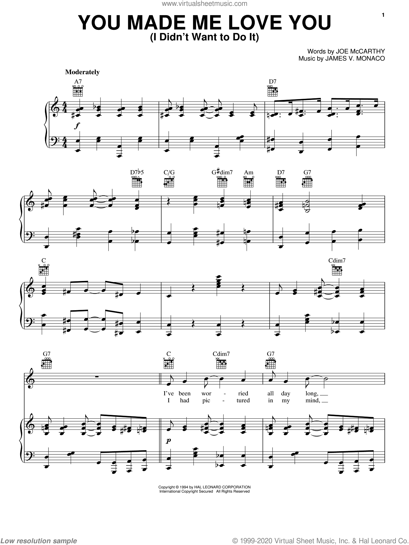 You Made Me Love You (I Didn't Want To Do It) sheet music for voice, piano or guitar by Joe McCarthy and James Monaco, intermediate skill level