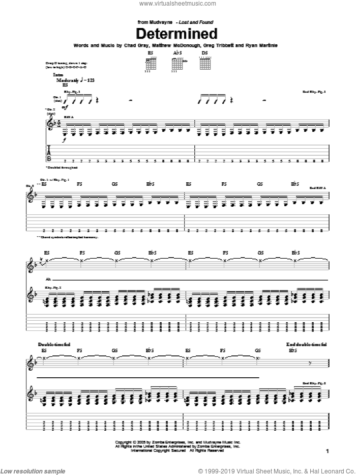 Determined sheet music for guitar (tablature) by Mudvayne. Score Image Preview.