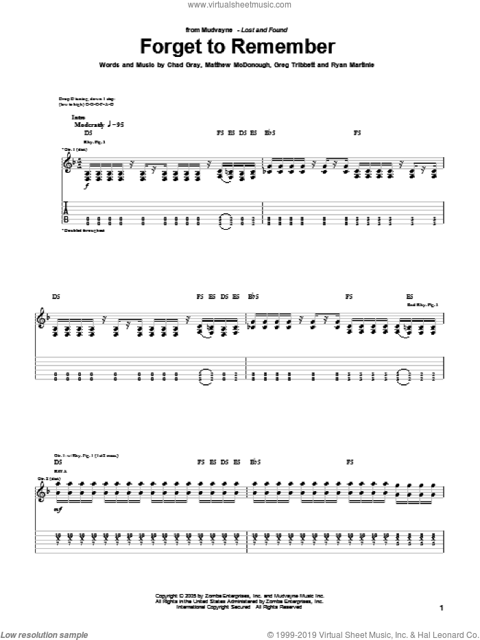 Forget To Remember sheet music for guitar (tablature) by Mudvayne, Chad Gray, Greg Tribbett, Matthew McDonough and Ryan Martinie, intermediate