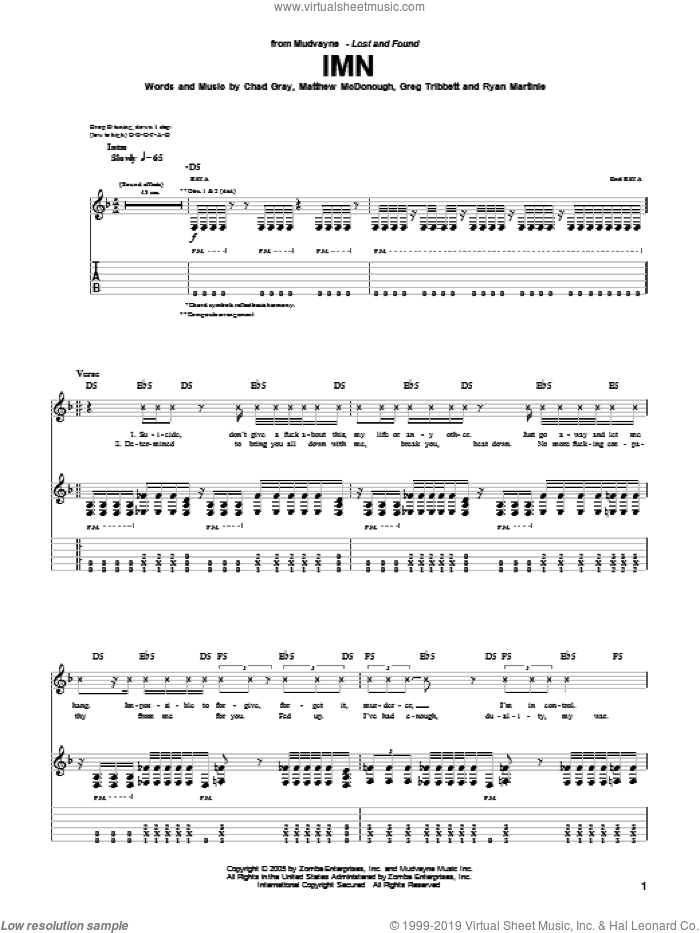IMN sheet music for guitar (tablature) by Mudvayne, Chad Gray, Greg Tribbett, Matthew McDonough and Ryan Martinie, intermediate skill level
