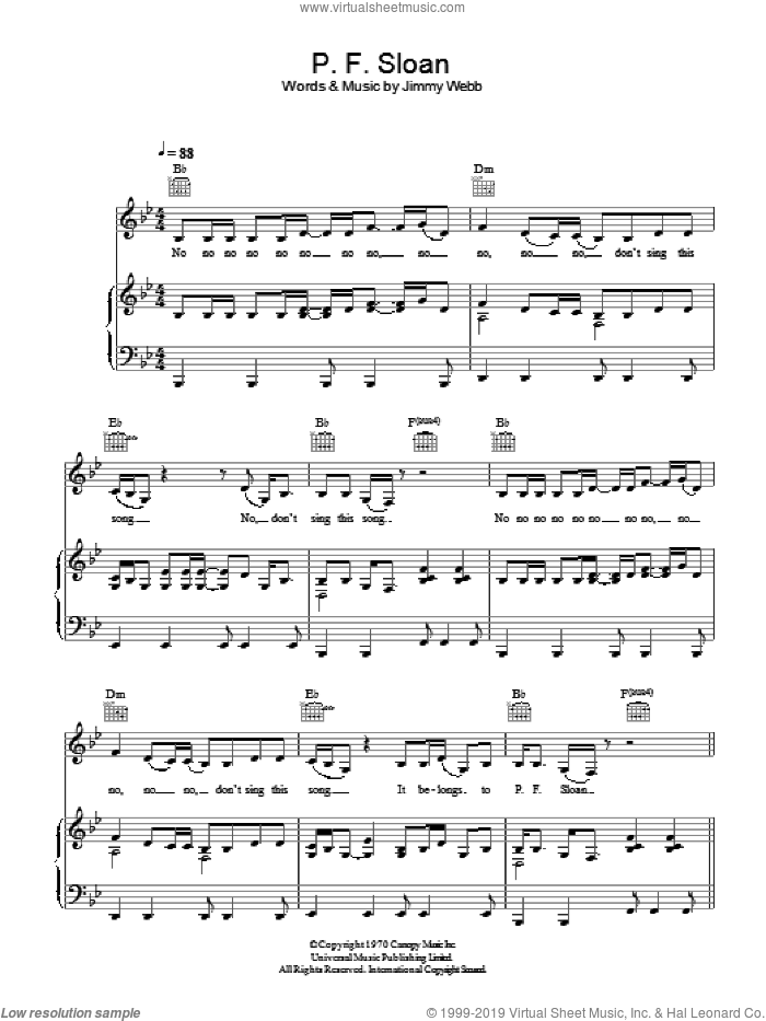 P.F. Sloan sheet music for voice, piano or guitar by Rumer and Jimmy Webb. Score Image Preview.