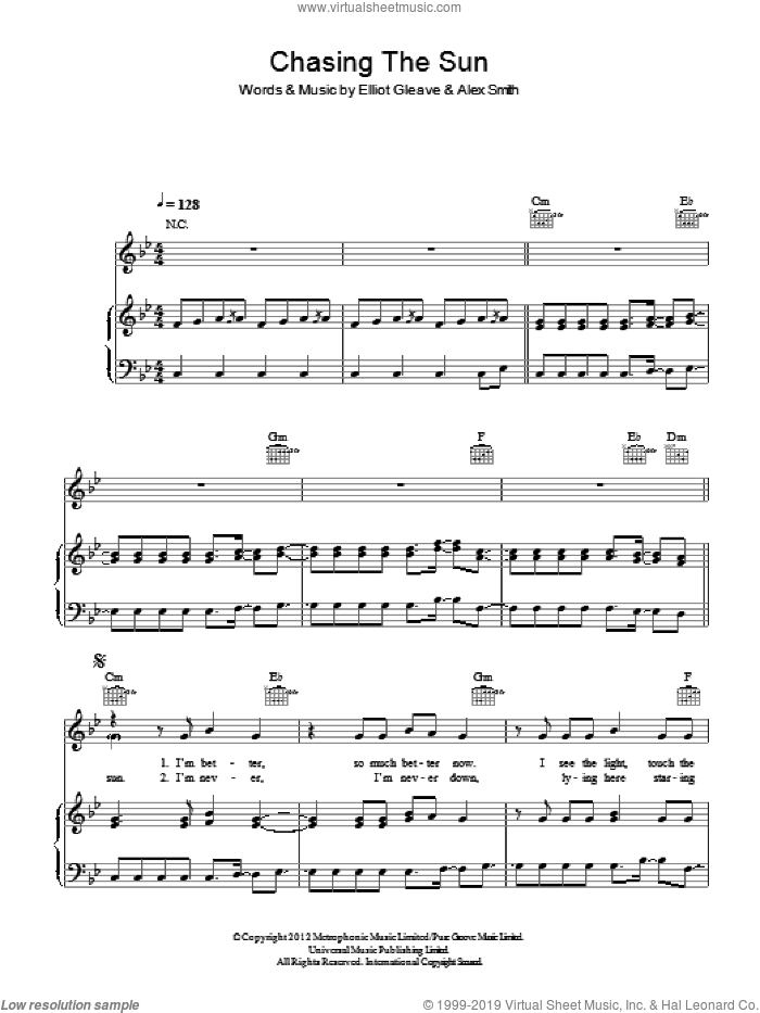 Chasing The Sun sheet music for voice, piano or guitar by The Wanted, Alex Smith and Elliot Gleave, intermediate. Score Image Preview.
