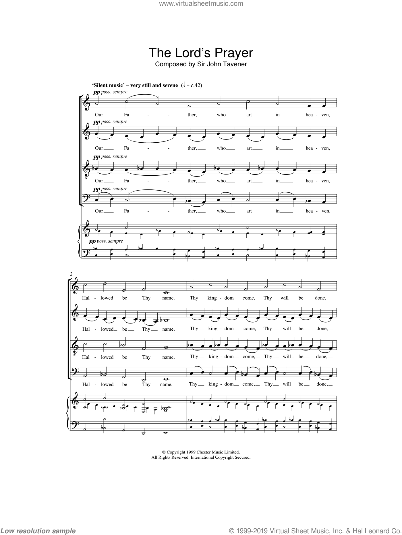 The Lord's Prayer sheet music for choir and piano by John Tavener