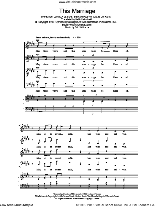 This Marriage sheet music for choir and piano by Jala al-Din Rumi