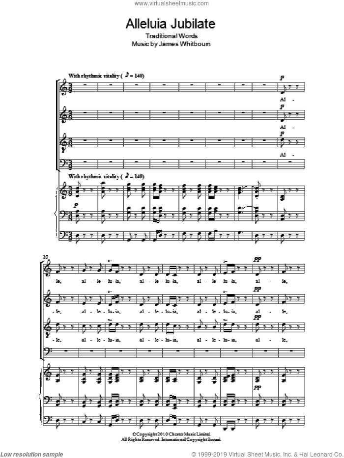 Alleluia Jubilate sheet music for choir by James Whitbourn, intermediate skill level
