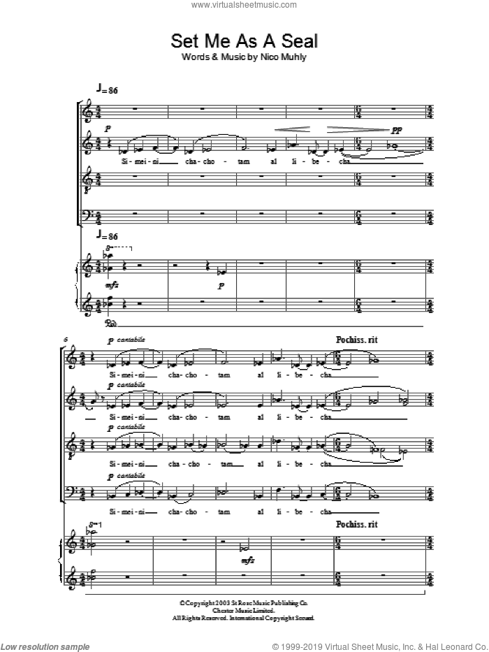 Set Me As A Seal sheet music for choir by Nico Muhly. Score Image Preview.