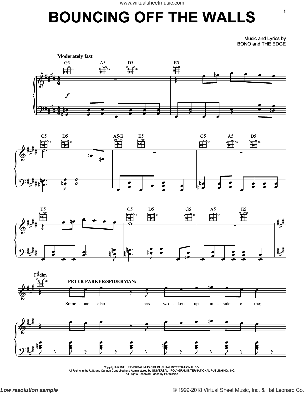 Bouncing Off The Walls sheet music for voice, piano or guitar by Bono & The Edge and Spider Man: Turn Off The Dark (Musical), intermediate skill level