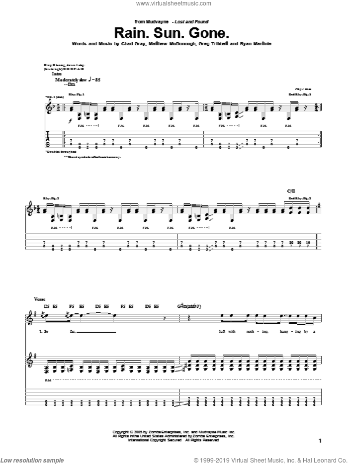 Rain.Sun.Gone sheet music for guitar (tablature) by Ryan Martinie. Score Image Preview.