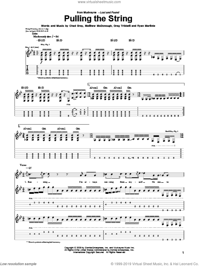 Pulling The String sheet music for guitar (tablature) by Ryan Martinie. Score Image Preview.