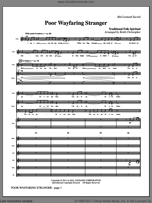 Poor Wayfaring Stranger (COMPLETE) sheet music for orchestra by Keith Christopher