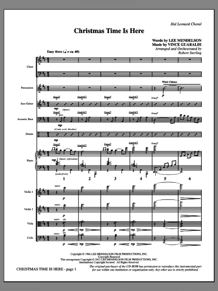 Christmas Time Is Here (complete set of parts) sheet music for orchestra/band (Rhythm/Strings) by Vince Guaraldi, Lee Mendelson and Robert Sterling, intermediate. Score Image Preview.