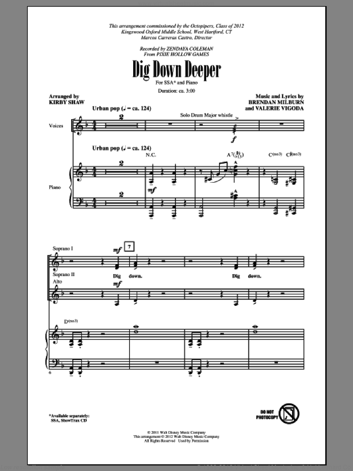 Dig Down Deeper sheet music for choir (SSA: soprano, alto) by Brendan Milburn, Valerie Vigoda and Kirby Shaw, intermediate. Score Image Preview.