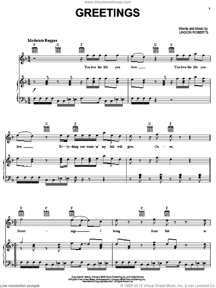Greetings sheet music for voice, piano or guitar by Lindon Roberts. Score Image Preview.