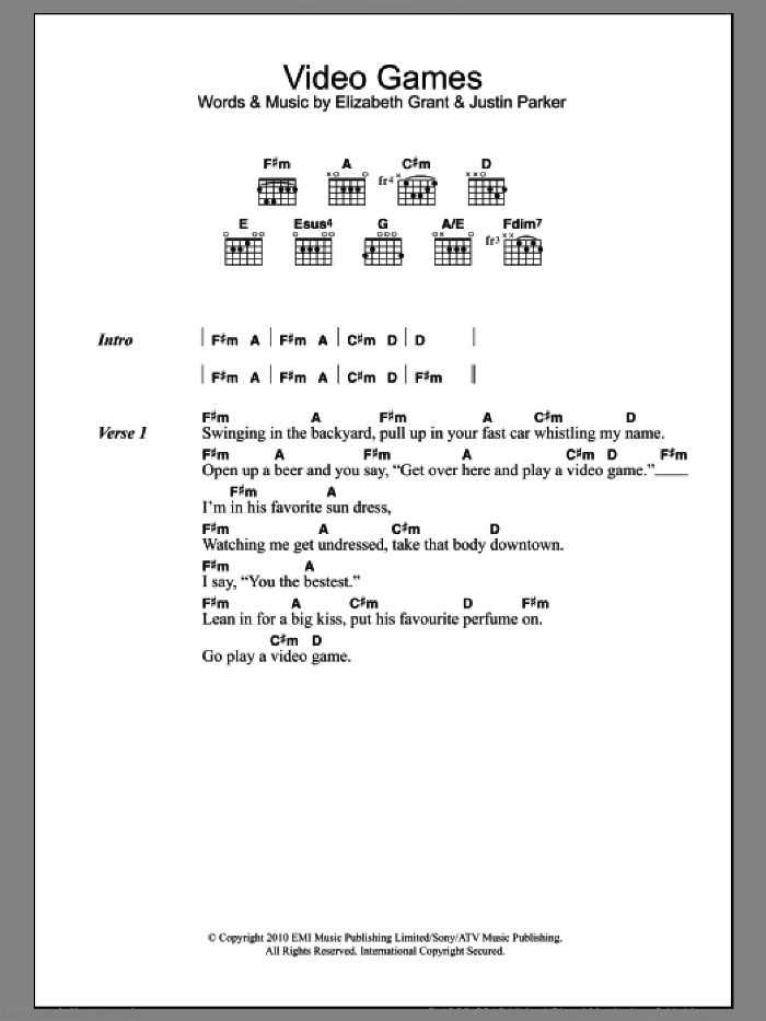 Video Games sheet music for guitar (chords) by Lana Del Ray, Elizabeth Grant and Justin Parker, intermediate skill level