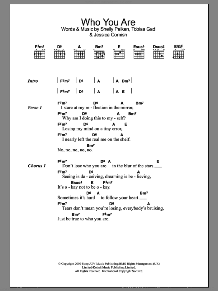 Who You Are sheet music for guitar (chords) by Toby Gad, Jessie J, Jessica Cornish and Shelly Peiken. Score Image Preview.