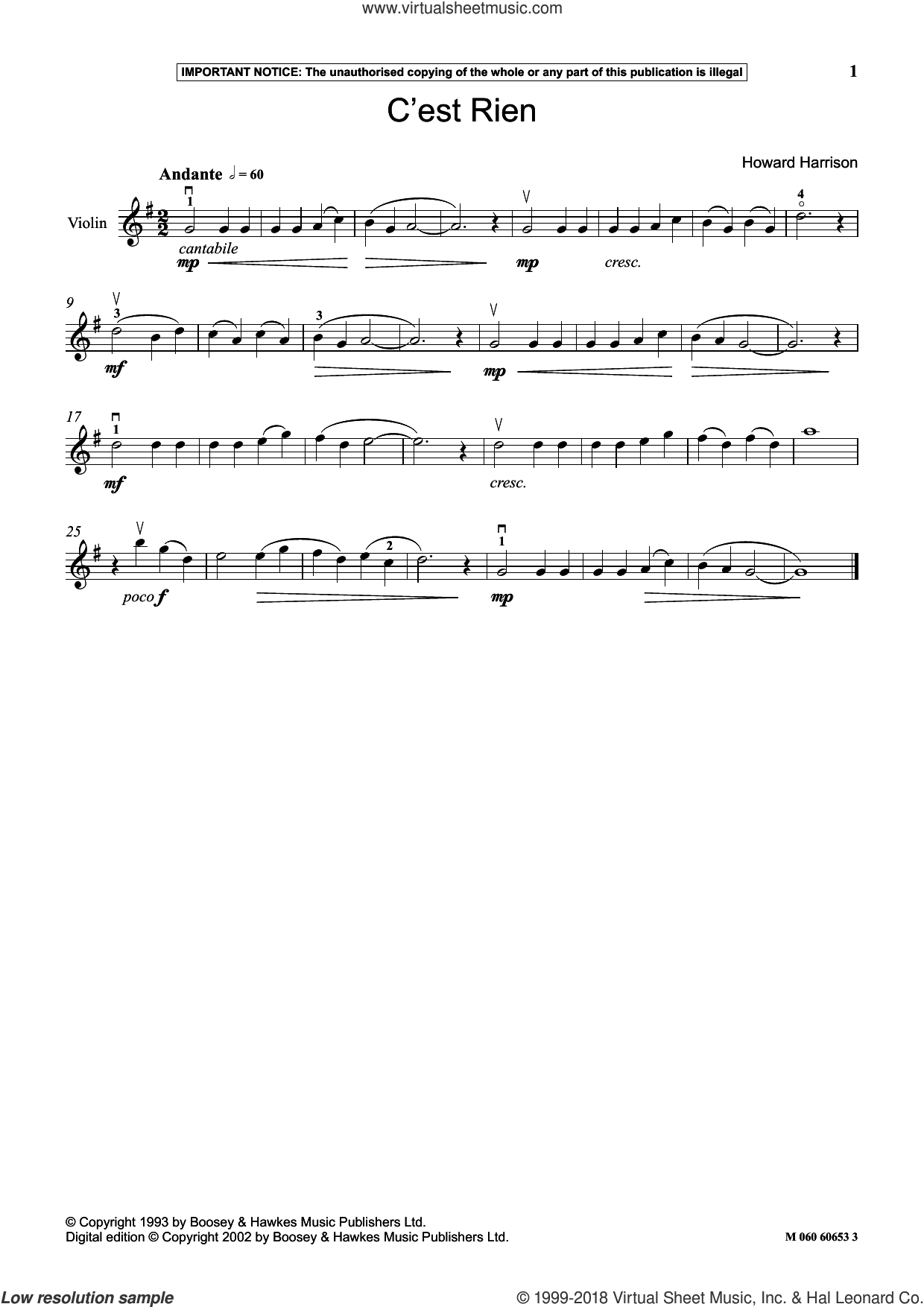 C Est Rien sheet music for violin solo by Howard Harrison, classical score, intermediate skill level