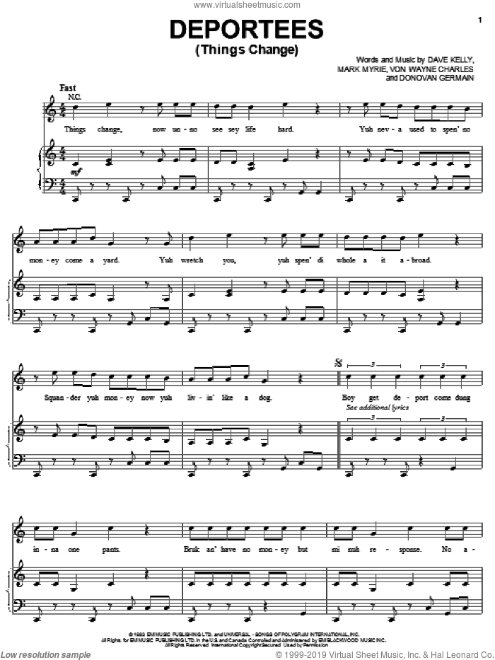 Deportees (Things Change) sheet music for voice, piano or guitar by Buju Banton, Dave Kelly, Donovan Germain, Mark Myrie and Von Wayne Charles, intermediate skill level