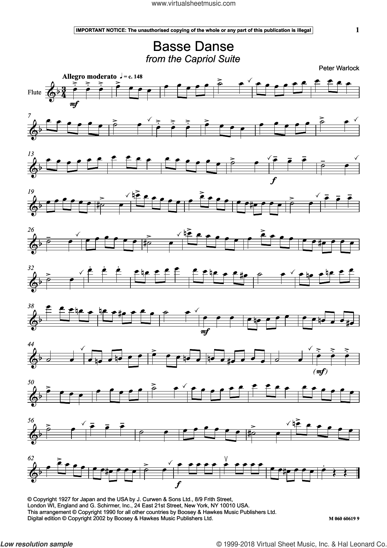 Basse Danse (from The Capriol Suite) sheet music for flute solo by Peter Warlock, intermediate skill level