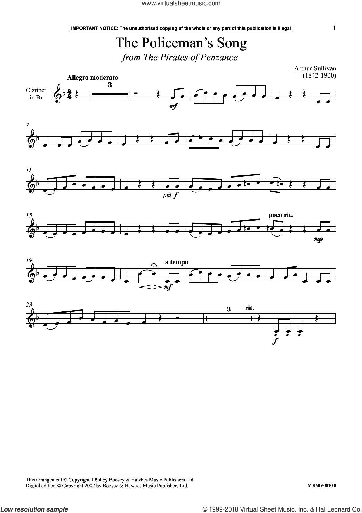 The Policeman's Song (from The Pirates Of Penzance) sheet music for clarinet solo by Arthur Sullivan, intermediate skill level