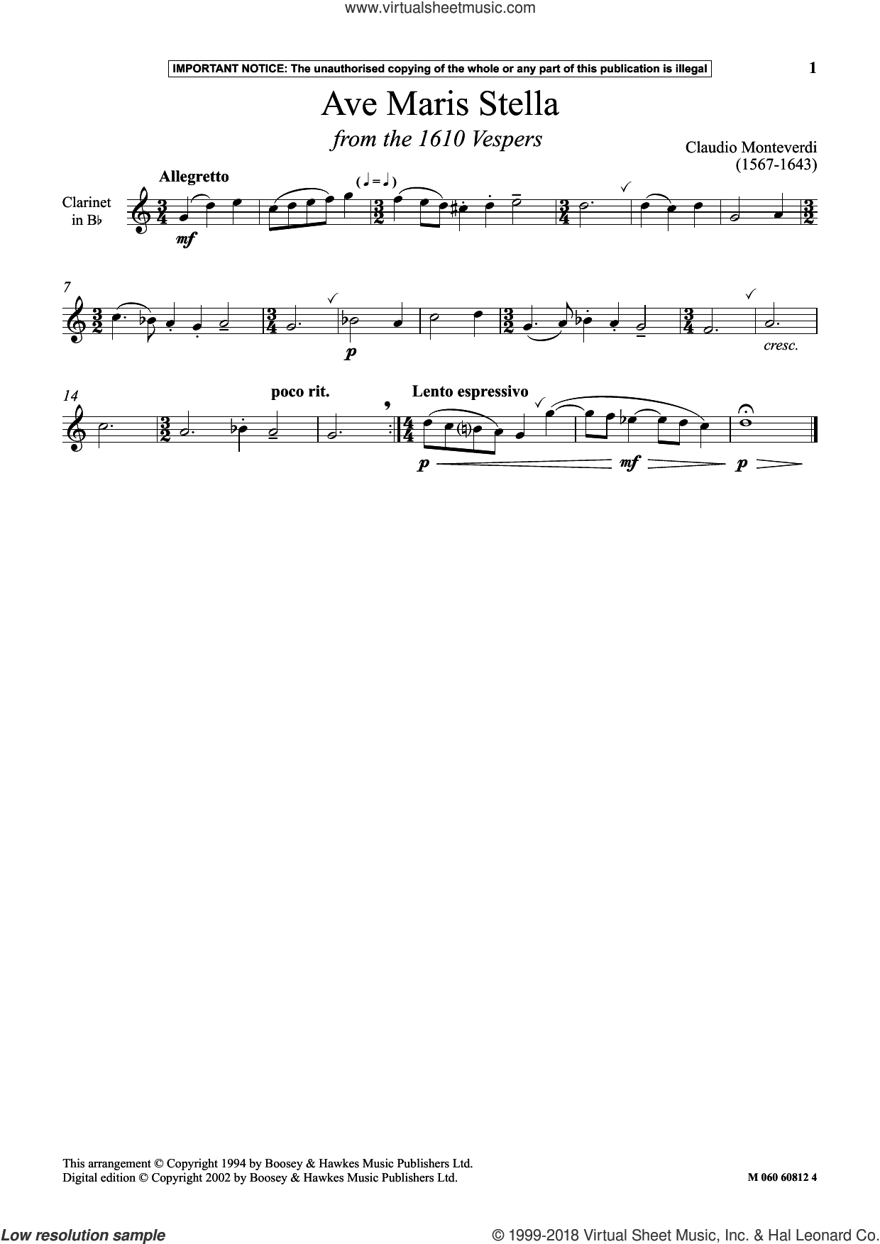 Ave Maris Stella (from The 1610 Vespers) sheet music for clarinet solo by Claudio Monteverdi, classical score, intermediate skill level