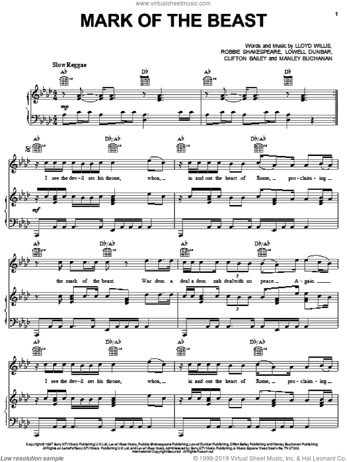 Mark Of The Beast sheet music for voice, piano or guitar by Capleton, intermediate voice, piano or guitar. Score Image Preview.
