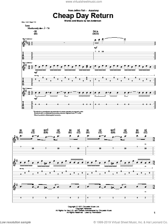 Cheap Day Return sheet music for guitar (tablature) by Jethro Tull, intermediate. Score Image Preview.