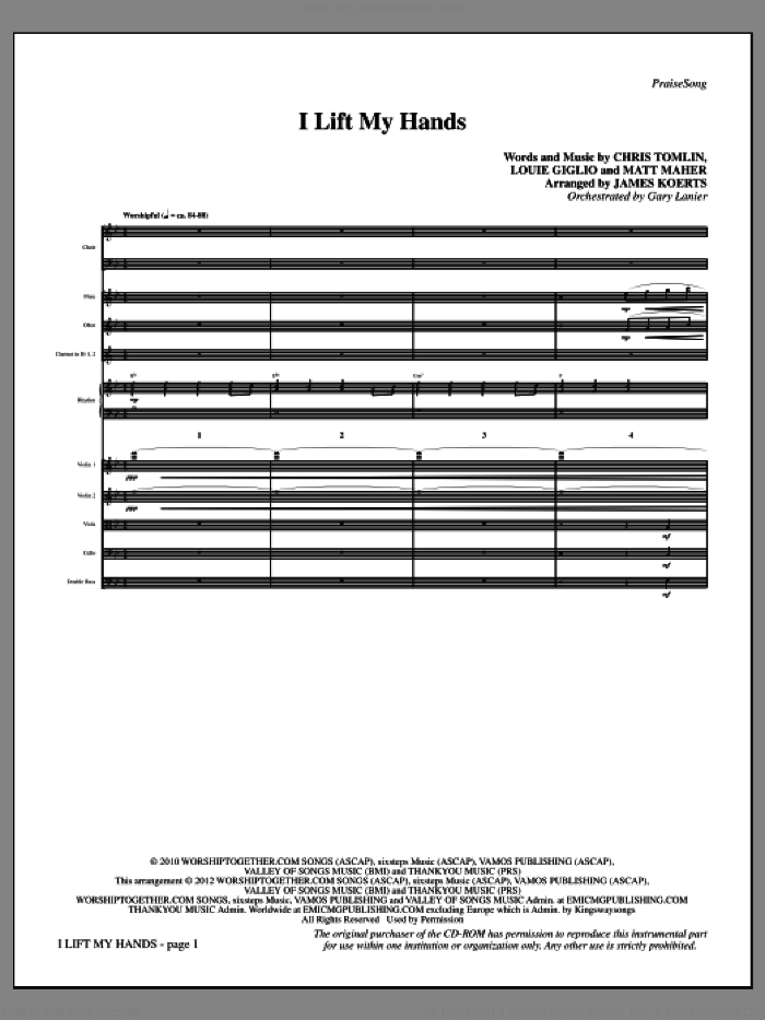 I Lift My Hands (complete set of parts) sheet music for orchestra/band (Orchestra) by Chris Tomlin, Louis Giglio, Matt Maher and James Koerts, intermediate skill level