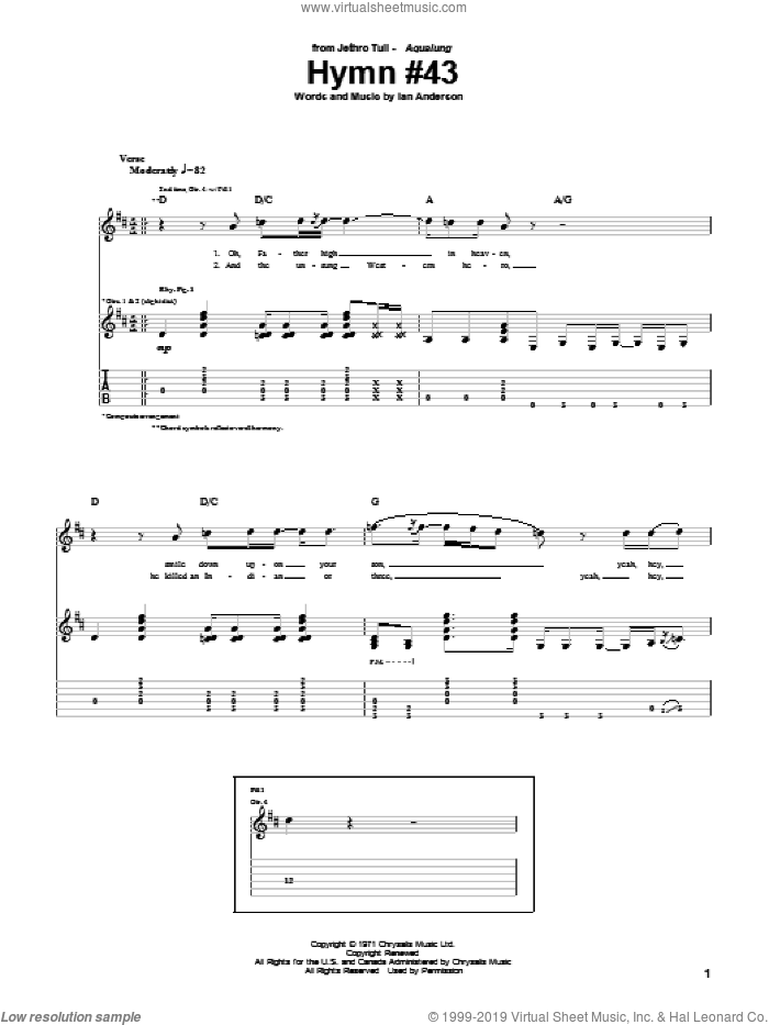 Hymn #43 sheet music for guitar (tablature) by Jethro Tull, intermediate. Score Image Preview.