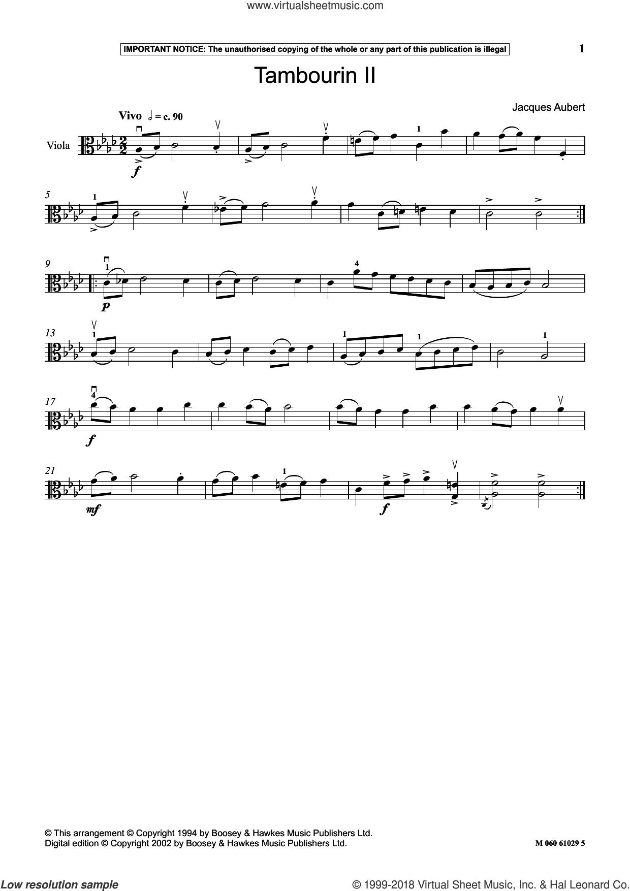 Tambourin II sheet music for viola solo by Jacques Aubert, classical score, intermediate skill level